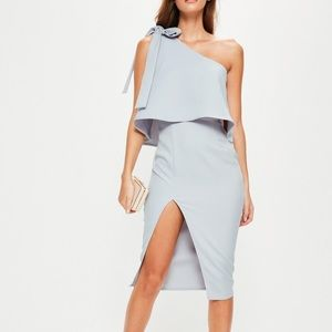 Misguided Grey One Shoulder Bow Midi Dress